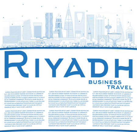 Outline Riyadh Saudi Arabia City Skyline with Blue Buildings and Copy Space. Vector Illustration. Business Travel and Concept with Modern Architecture. Riyadh Cityscape with Landmarks.