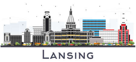 Lansing Michigan City Skyline with Color Buildings Isolated on White. Vector Illustration. Business Travel and Concept with Historic Architecture. Lansing USA Cityscape with Landmarks.