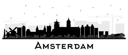 Amsterdam Holland City Skyline Silhouette with Black Buildings Isolated on White. Vector Illustration. Travel and Tourism Concept with Historic Architecture. Amsterdam Netherlands Cityscape with Landmarks.