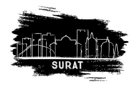 Surat India City Skyline Silhouette. Hand Drawn Sketch. Vector Illustration. Business Travel and Tourism Concept with Historic Architecture. Surat Cityscape with Landmarks.