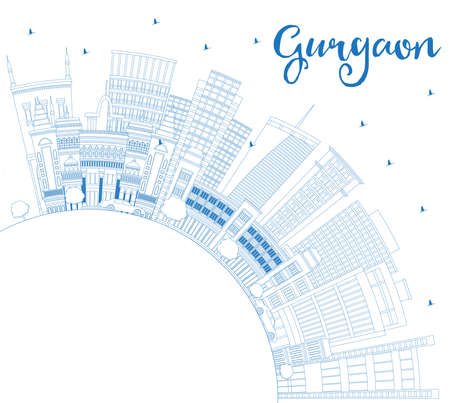 Outline Gurgaon India City Skyline with Blue Buildings and Copy Space. Vector Illustration. Business Travel and Tourism Concept with Modern Architecture. Gurgaon Cityscape with Landmarks.