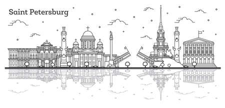 Outline Saint Petersburg Russia City Skyline with Historic Buildings and Reflections Isolated on White. Vector Illustration. Saint Petersburg Cityscape with Landmarks.