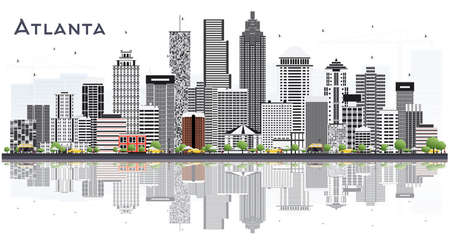 Atlanta Georgia USA City Skyline with Gray Buildings Isolated on White. Vector Illustration. Business Travel and Tourism Concept with Modern Buildings. Atlanta Cityscape with Landmarks. Çizim