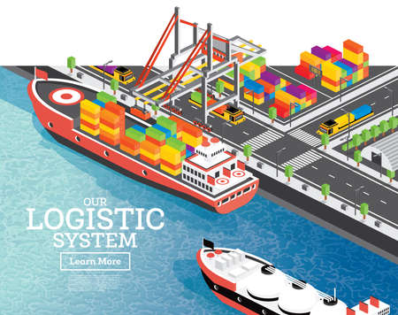 Isometric Sea Port with Container Ship. Vector Illustration. Gantry Crane Loads Cargo on Ship. Port Infrastructure.