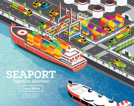 Isometric Sea Port with Container Ship. Vector Illustration. Gantry Crane Loads Cargo on Ship. Port Infrastructure. LNG Storage Tank. Warehouse System.  イラスト・ベクター素材