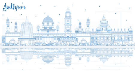 Outline Jodhpur India City Skyline with Blue Buildings and Reflections. Vector Illustration. Business Travel and Concept with Historic Architecture. Jodhpur Cityscape with Landmarks.