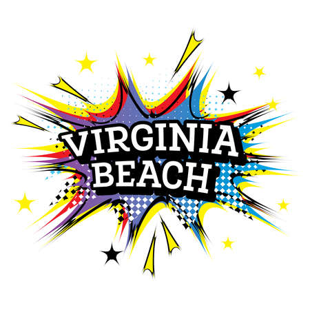 Virginia Beach Comic Text in Pop Art Style. Vector Illustration.