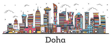 Outline Doha Qatar City Skyline with Color Buildings Isolated on White. Vector Illustration. Doha Cityscape with Landmarks.