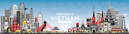 Welcome to Vietnam Skyline with Gray Buildings and Blue Sky. Vector Illustration. Tourism Concept with Historic Architecture. Vietnam Cityscape with Landmarks. Hanoi. Ho Chi Minh. Haiphong. Da Nang.