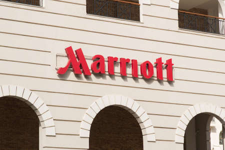 Esto Sadok. Sochi. Krasnaya Polyana. Russia - September 4, 2018: Sign Marriott on the Hotel. Marriott International, Inc. is an American Diversified Hospitality Company that Manages and Franchises Hotels. Editorial