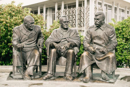Yalta. Crimea. Russia - August 31, 2017: Monument to the Leaders of the Big Three - Joseph Stalin, Franklin Roosevelt and Winston Churchill in Livadia, Yalta.