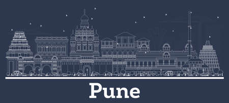 Outline Pune India City Skyline with White Buildings. Vector Illustration. Business Travel and Tourism Concept with Historic Architecture. Pune Cityscape with Landmarks.