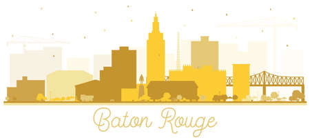 Baton Rouge Louisiana City Skyline Silhouette with Golden Buildings Isolated on White. Vector Illustration. Tourism Concept with Modern Architecture. Baton Rouge USA Cityscape with Landmarks.