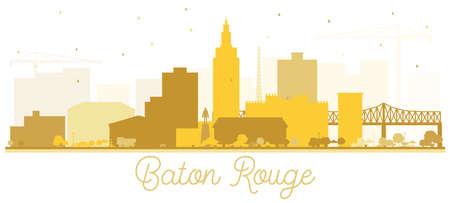 Silueta del horizonte de la ciudad de Baton Rouge Louisiana con edificios dorados aislados en blanco. Ilustración de vector. Concepto de turismo con arquitectura moderna. Paisaje urbano de Baton Rouge Estados Unidos con hitos. Ilustración de vector