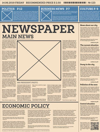 Business Daily Newspaper Template with One Page. Vector Illustration. 向量圖像