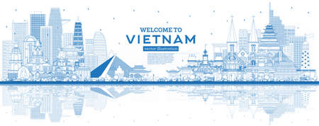 Outline Welcome to Vietnam Skyline with Blue Buildings and Reflections. Vector Illustration. Tourism Concept with Historic Architecture. Vietnam Cityscape with Landmarks. Hanoi. Ho Chi Minh. Haiphong. Da Nang.