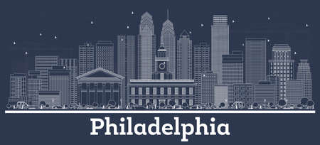 Outline Philadelphia Pennsylvania City Skyline with White Buildings. Vector Illustration. Business Travel and Tourism Concept with Modern Architecture. Philadelphia Cityscape with Landmarks.