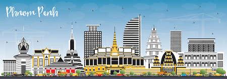 Phnom Penh Cambodge City Skyline avec bâtiments de couleur et ciel bleu. Illustration vectorielle. Concept de voyage d'affaires et de tourisme avec architecture historique. Paysage urbain de Phnom Penh avec des points de repère.