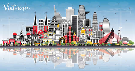 Vietnam City Skyline with Gray Buildings, Blue Sky and Reflections. Vector Illustration. Tourism Concept with Historic Architecture. Vietnam Cityscape with Landmarks. Hanoi. Ho Chi Minh.