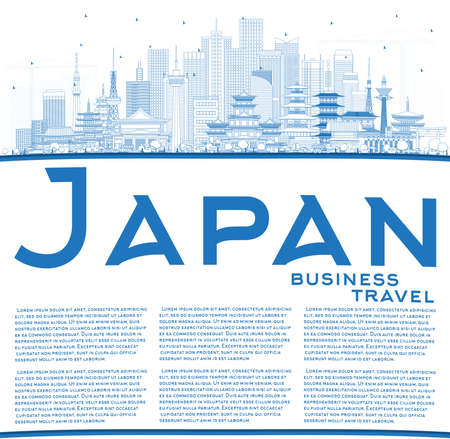 Outline Welcome to Japan Skyline with Blue Buildings and Copy Space. Vector Illustration. Tourism Concept with Historic Architecture. Cityscape with Landmarks. Tokyo. Osaka. Nagoya. Kyoto. Nagano.