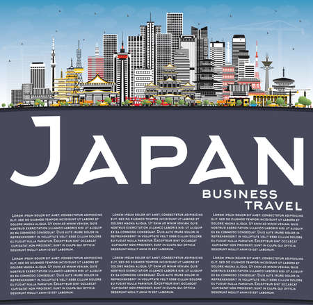 Japan City Skyline with Gray Buildings, Blue Sky and Copy Space. Vector Illustration. Tourism Concept with Historic Architecture. Cityscape with Landmarks. Tokyo. Osaka. Nagoya. Kyoto. Nagano.