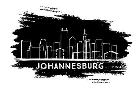 Johannesburg South Africa City Skyline Silhouette. Hand Drawn Sketch. Vector Illustration. Business Travel and Tourism Concept with Modern Architecture. Johannesburg Cityscape with Landmarks.  Illustration