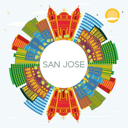 San Jose Costa Rica City Skyline with Color Buildings, Blue Sky and Copy Space. Vector Illustration. Business Travel and Tourism Concept with Modern Architecture. San Jose Cityscape with Landmarks.