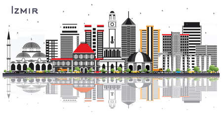 Izmir Turkey City Skyline with Color Buildings and Reflections Isolated on White. Vector Illustration. Business Travel and Tourism Concept with Modern Architecture. Izmir Cityscape with Landmarks.