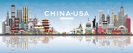 China and USA Skyline with Gray Buildings, Blue Sky and Reflections. Famous Landmarks. Vector Illustration. USA and China Trade War Concept.