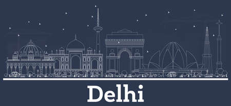 Outline Delhi India City Skyline with White Buildings. Vector Illustration. Business Travel and Tourism Concept with Modern Architecture. Delhi Cityscape with Landmarks.