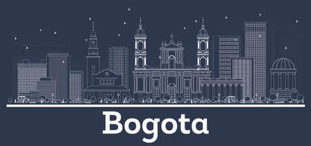 Décrire les toits de la ville de Bogota en Colombie avec des bâtiments blancs. Illustration vectorielle. Concept de voyage d'affaires et de tourisme à l'architecture moderne. Paysage urbain de Bogota avec des points de repère.