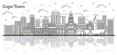 Outline Cape Town South Africa City Skyline with Modern Buildings and Reflections Isolated on White. Vector Illustration. Cape Town Cityscape with Landmarks.