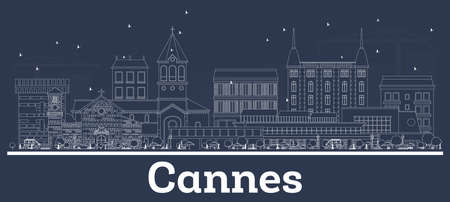 Outline Cannes France City Skyline with White Buildings. Vector Illustration. Business Travel and Tourism Concept with Modern Architecture. Cannes Cityscape with Landmarks.
