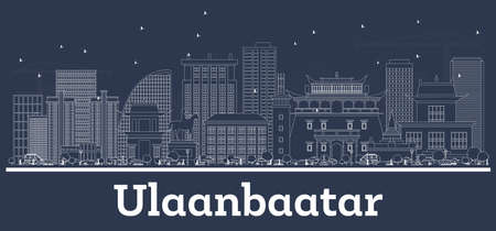 Outline Ulaanbaatar Mongolia City Skyline with White Buildings. Vector Illustration. Business Travel and Tourism Concept with Modern Architecture. Ulaanbaatar Cityscape with Landmarks. 矢量图片