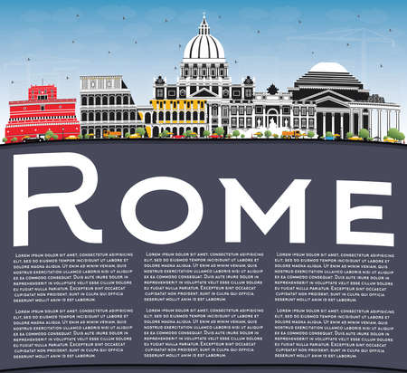 Rome Italy City Skyline with Color Buildings, Blue Sky and Copy Space. Vector Illustration. Business Travel and Concept with Historic Architecture. Rome Cityscape with Landmarks. Archivio Fotografico - 133540333