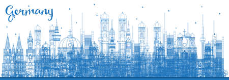 Outline Germany City Skyline with Blue Buildings. Vector Illustration. Business Travel and Tourism Concept with Historic Architecture. Germany Cityscape with Landmarks. Vektoros illusztráció