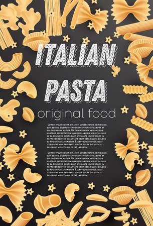 Italian Pasta Background. Farfalle, Conchiglie, Linguine, Maccheroni, Penne, Rigate, Spaghetti, Fusilli and Lasagne. Vector Illustration.