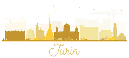 Turin Italy City Skyline Silhouette with Golden Buildings Isolated on White. Vector Illustration. Business Travel and Tourism Concept with Modern Architecture. Turin Cityscape with Landmarks.