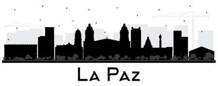 Siluetta dello skyline della città di La Paz Bolivia con edifici neri isolati su bianco. Illustrazione di vettore. Viaggi d'affari e concetto di turismo con architettura storica. Paesaggio urbano di La Paz con punti di riferimento.