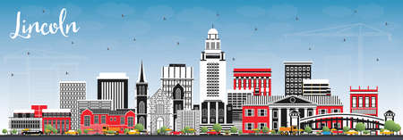 Lincoln Nebraska City Skyline with Color Buildings and Blue Sky. Vector Illustration. Business Travel and Tourism Concept with Historic Architecture. Lincoln USA Cityscape with Landmarks.