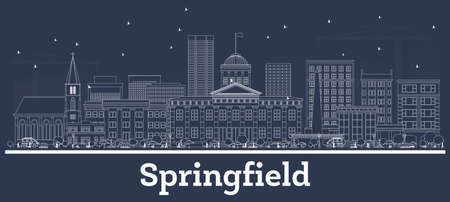 Outline Springfield Illinois City Skyline with White Buildings. Vector Illustration. Business Travel and Concept with Modern Architecture. Springfield USA Cityscape with Landmarks.
