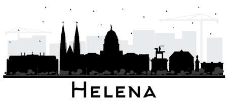 Helena Montana City Skyline Silhouette with Black Buildings Isolated on White. Vector Illustration. Business Travel and Tourism Concept with Historic Architecture. Helena USA Cityscape with Landmarks. Vetores