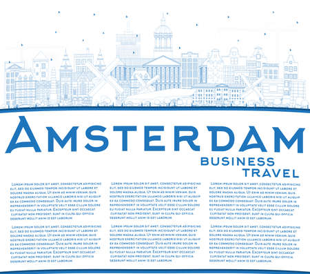 Outline Amsterdam Holland City Skyline with Blue Buildings and Copy Space. Vector Illustration. Business Travel and Tourism Concept with Historic Architecture. Amsterdam Cityscape with Landmarks.