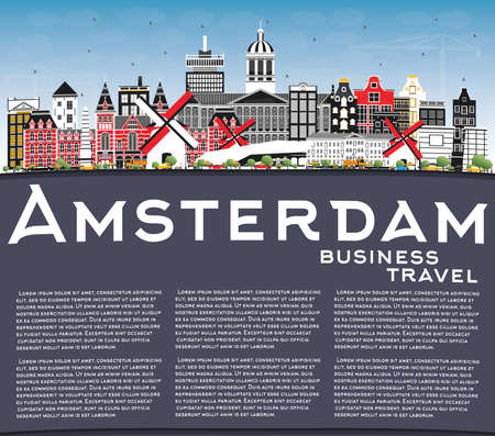 Amsterdam Holland City Skyline with Color Buildings, Blue Sky and Copy Space. Vector Illustration. Business Travel and Tourism Concept with Historic Architecture. Amsterdam Netherlands Cityscape with Landmarks. 向量圖像