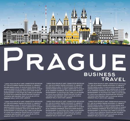 Prague Czech Republic City Skyline with Color Buildings, Blue Sky and Copy Space. Vector Illustration. Business Travel and Tourism Concept with Historic Architecture. Prague Cityscape with Landmarks. Illusztráció
