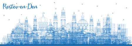 Outline Rostov-on-Don Russia City Skyline with Blue Buildings. Vector Illustration. Business Travel and Tourism Concept with Modern Architecture. Rostov-on-Don Cityscape with Landmarks. Vektorové ilustrace