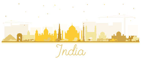 India City Skyline Silhouette with Golden Buildings Isolated on White. Delhi. Hyderabad. Kolkata. Vector Illustration. Tourism Concept with Historic Architecture. India Cityscape with Landmarks.