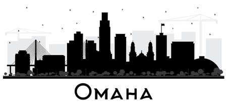 Omaha Nebraska City Skyline Silhouette with Black Buildings Isolated on White. Vector Illustration. Business Travel and Tourism Concept with Historic Architecture. Omaha USA Cityscape with Landmarks. Ilustração