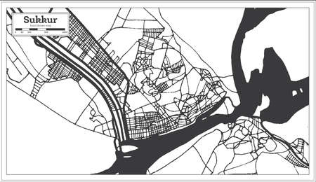 Sukkur Pakistan City Map in Retro Style in Black and White Color. Outline Map. Vector Illustration. Standard-Bild - 128691416