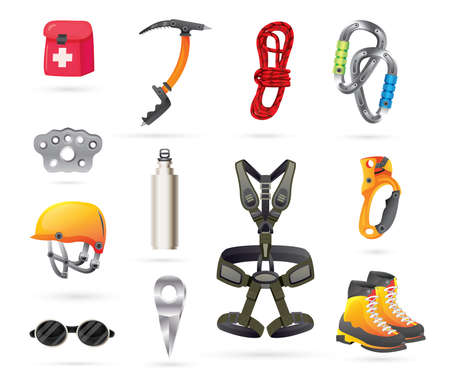 Equipment for Mountaineering and Hiking. Vector Illustration. Icons Set.